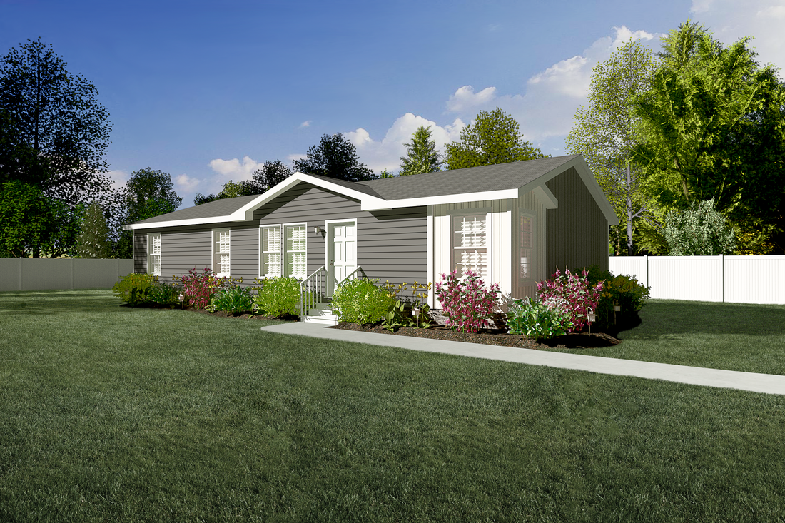 The 2852 INDEPENDENCE Exterior. This Manufactured Mobile Home features 3 bedrooms and 2 baths.