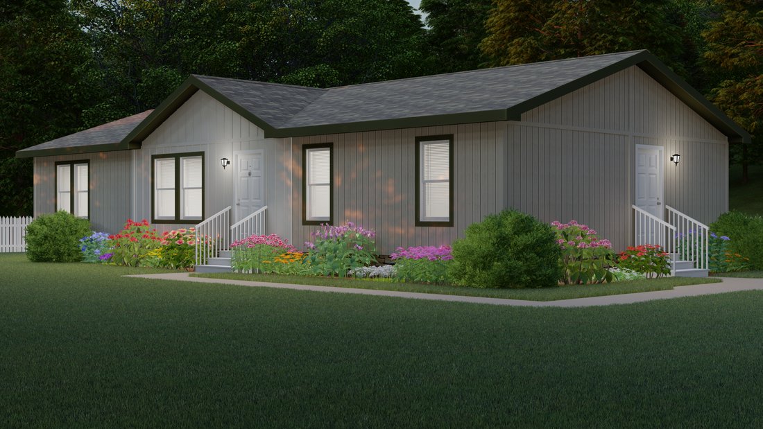 The 2023 COLUMBIA RIVER Exterior. This Manufactured Mobile Home features 3 bedrooms and 2 baths.