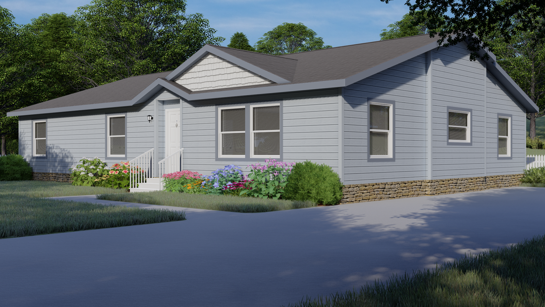 The 9584S EVEREST Exterior. This Manufactured Mobile Home features 3 bedrooms and 2 baths.