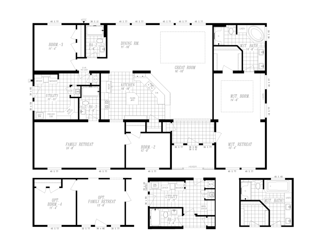The 9593S         WASHINGTON Floor Plan