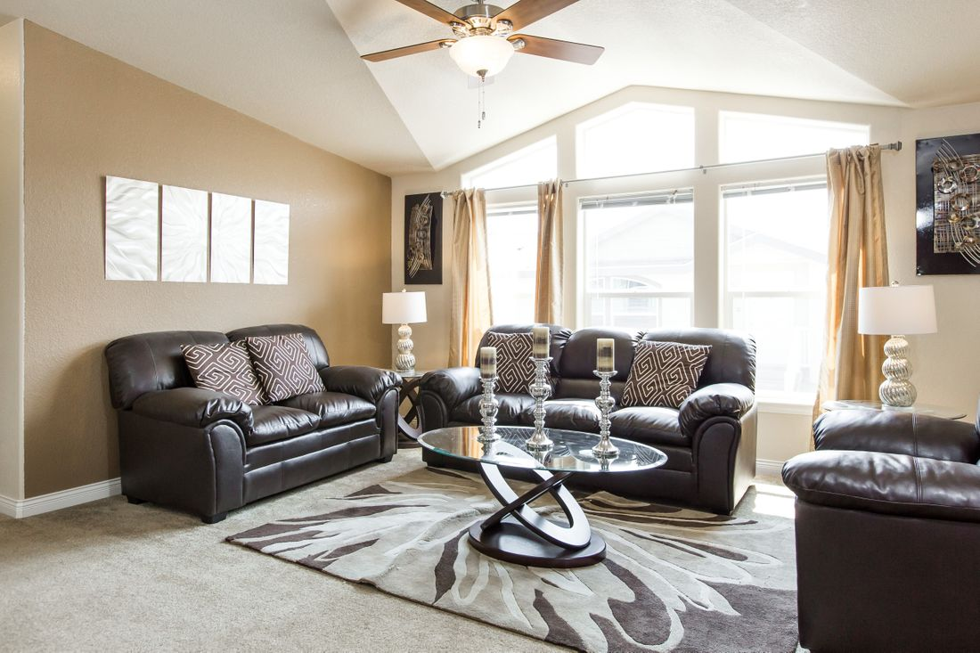 The 9597S GLACIER PEAK Living Room. This Manufactured Mobile Home features 3 bedrooms and 2 baths.
