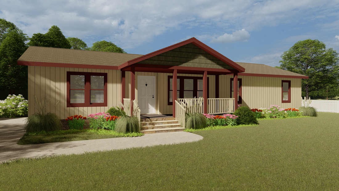 The 2860 MARLETTE SPECIAL Exterior. This Manufactured Mobile Home features 3 bedrooms and 2 baths.