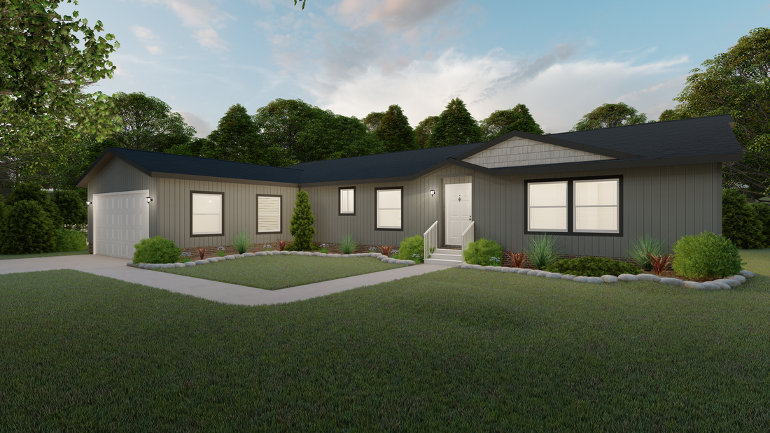 The 9585S MCKINLEY Exterior. This Manufactured Mobile Home features 3 bedrooms and 2 baths.