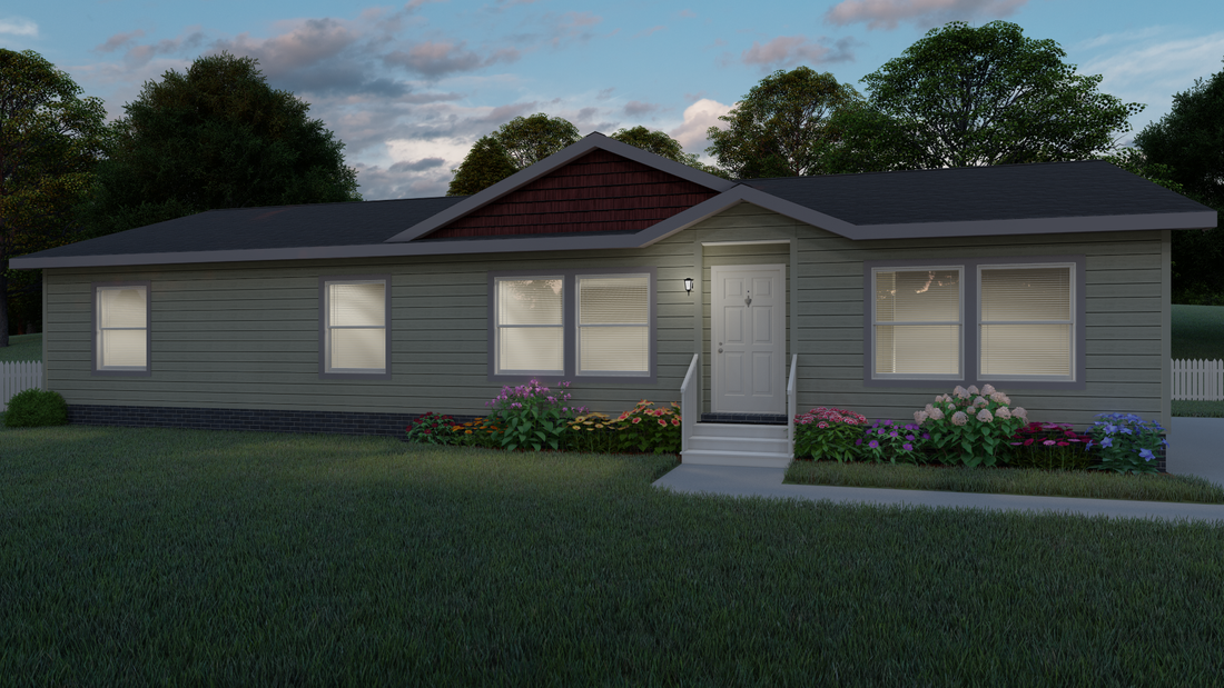 The 9594S OLYMPUS Exterior. This Manufactured Mobile Home features 3 bedrooms and 2 baths.